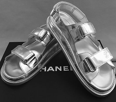 Chanel Metallic Silver Leather Sandals Style No. 16S G31848  Women's Size 8 Mint