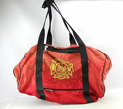 Vintage 29 Large Red Canvas Firefighter Turnout Gear Duffle Bag