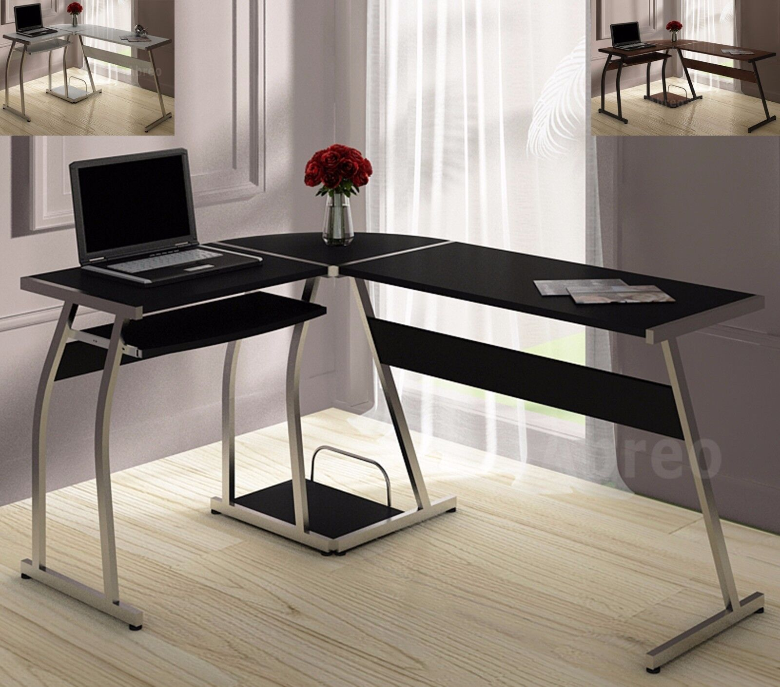 L Shape Corner Computer Pc Desk Table Workstation Home