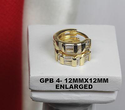 CUTE 10K GOLD PLATED STERLING SILVER EMERALD CZ HUGGIE HOOP EARRING-5 STONES ECH