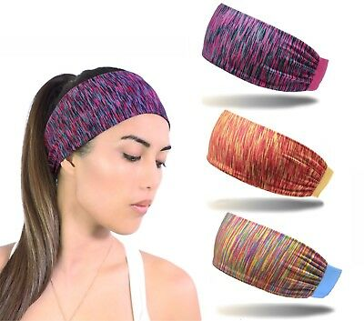 3pcs Women Moisture Wicking Wide Non-Slip Sport Headband Sweatband Gym Yoga