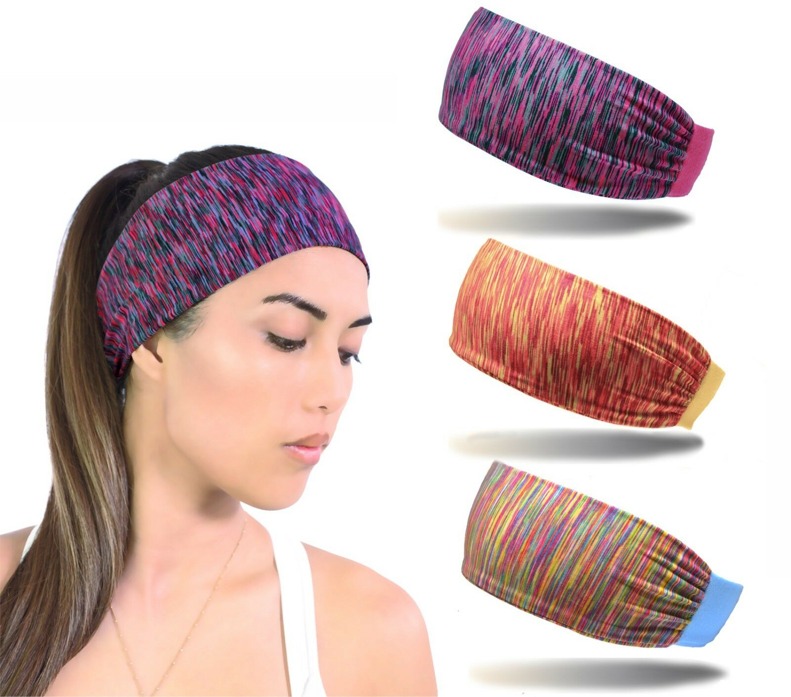 3pcs Women Sport Headband Female Elastic Fitness Sweatband H