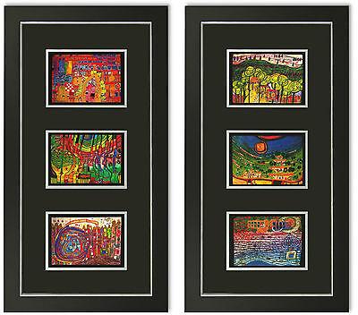 2 Bilder Kunstdruck Friedensreich Hundertwasser Galeriebild mit Rahmen