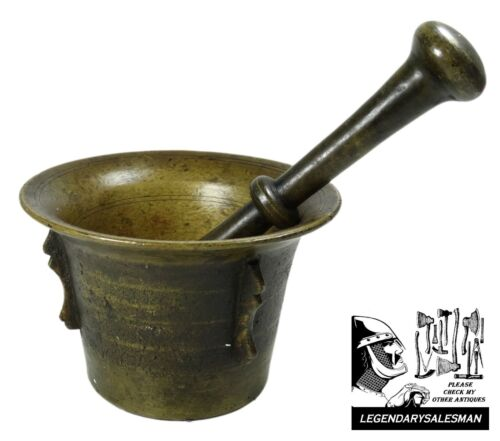 ANTIQUE 17TH/18TH CENTURY SOLID BRONZE MORTAR & PESTLE