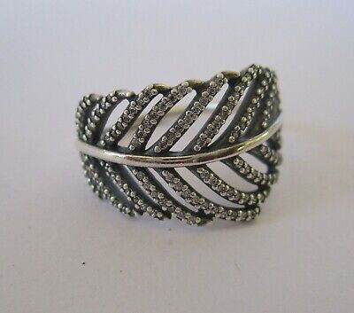 Authentic Genuine Pandora Light as a Feather Ring 190886CZ-54
