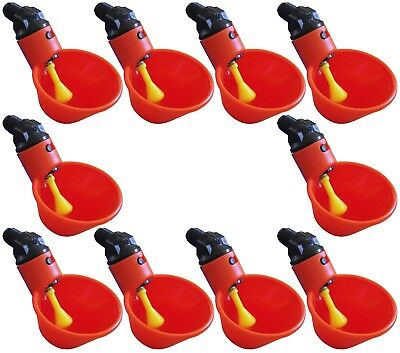 10 Automatic Waterer Drinker Cups Chicken Coop Poultry Chook Bird Turkey Drink