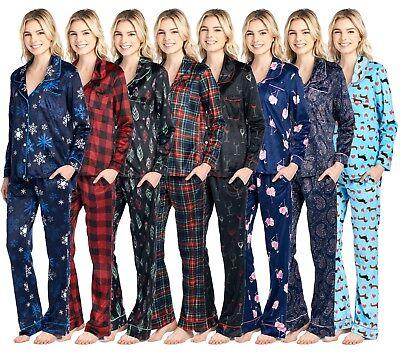Ashford & Brooks Womens Sleepwear Fleece Long Sleeve Nightwear Pjs Pajama Set