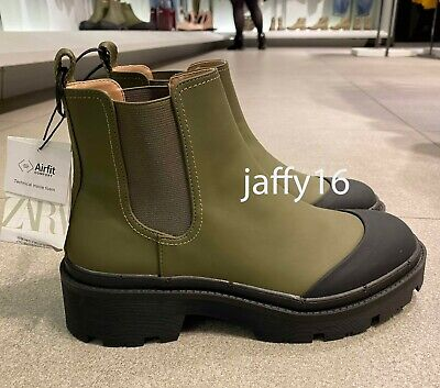 ZARA NEW WOMAN  FLAT TECHNICAL ANKLE BOOT TRACK SOLE KHAKI 35-42 7189/001