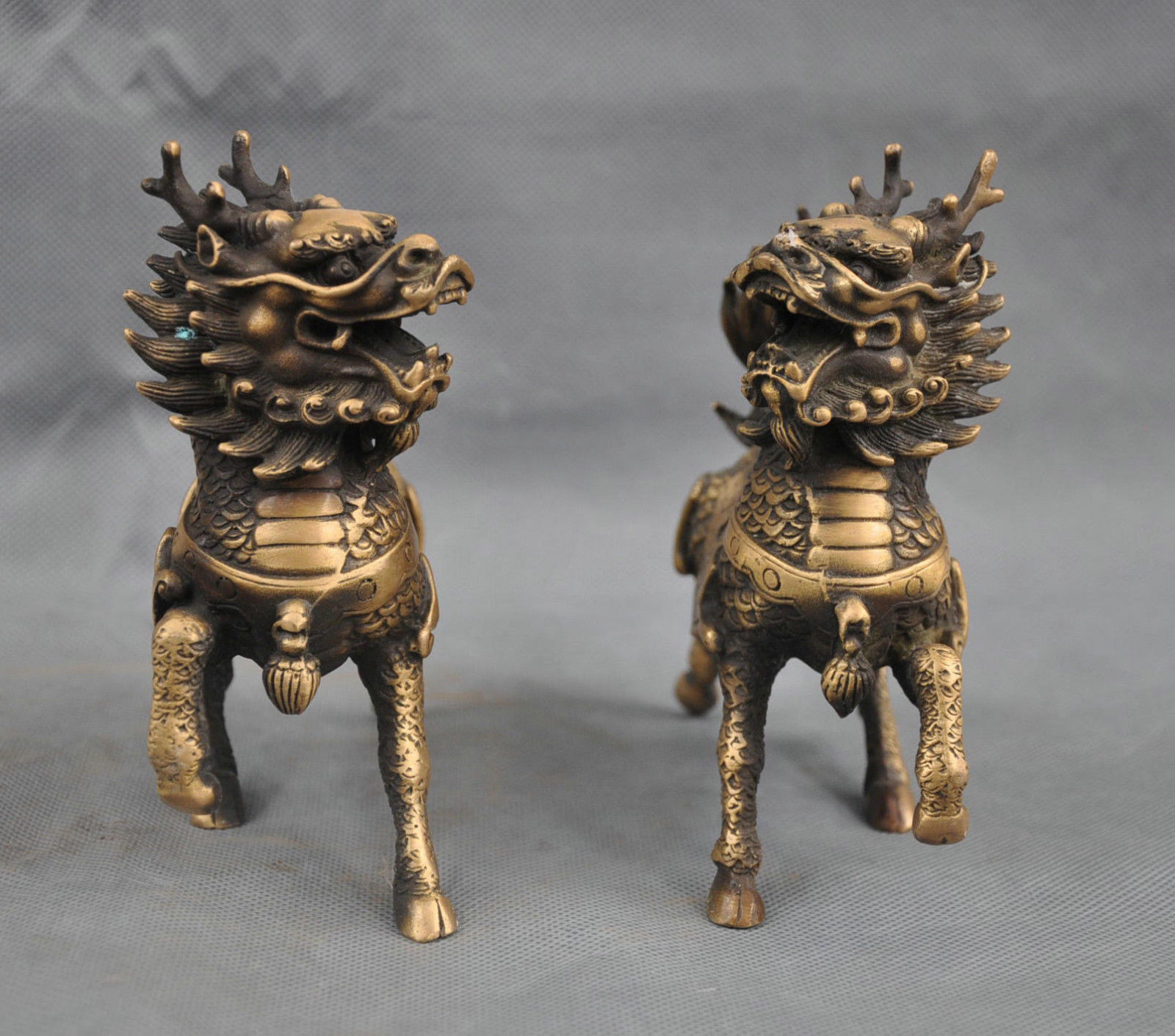 60MM Small Curio Chinese Bronze Animal Unicorn Beast Kylin Chi-lin Qilin Statue