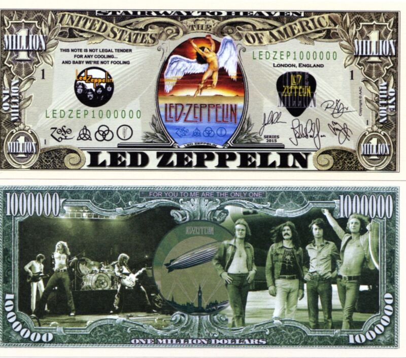 Led Zepplin Rock Band Million Dollar Novelty Money