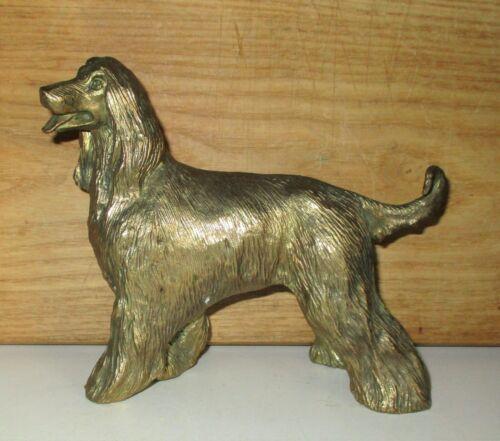 VINTAGE AFGHAN HOUND DOG BRASS STATUE FIGURINE ART SCULPTURE