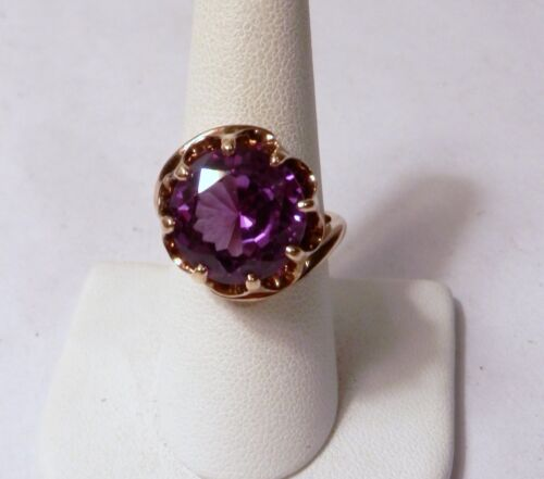 HUGE Gorgeous 12 mm Amethyst Solitaire 14K Gold Ring 9.3 Grams Size 8.5