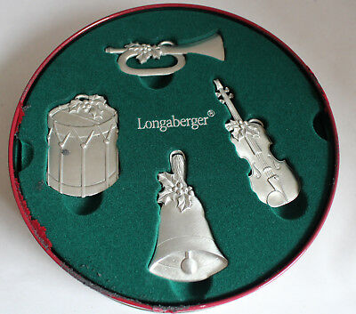 Longaberger 2003 Sounds of the Season Pewter Ornaments in Tin & Gift Box #28084