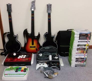 Xbox 360 (128GB) with 30+ games, Controllers and Guitars
