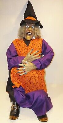 GEMMY 8 ft. Animated Witch Fortune Teller Lifesize Greeter Sits in chair Motion
