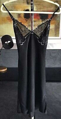 Janet Reger Ladies Sexy Black Nightdress  With Lace Detail New Size 12
