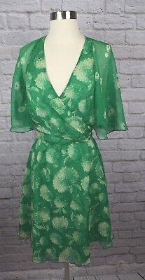 Anna Sui 4 Green Ivory 100% Silk Flowing Lined Wrap Dress (Anna Green Dress)