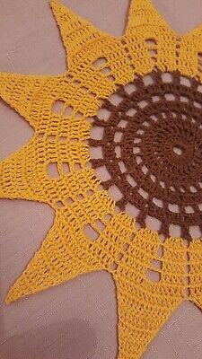 Sunflower Crochet doily, table decoration, vintage style home decor