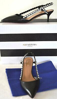 AQUAZZURA FIRENZE Black Slingback Sides Pearl Beaded Pointy Toe Pump Size 38