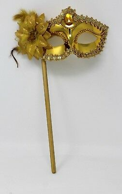 SPARKLING GOLD JEWELLED VENETIAN MASQUERADE PARTY BALL MASK HAND HELD ON A STICK - Venetian Masquerade Masks On A Stick