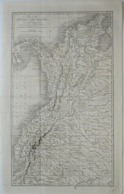 Original 1777 Map PANAMA COLOMBIA PERU ECUADOR Bogota Quito Amazon Darien Piura