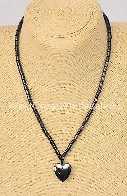Magnetic Hematite Heart Pendant Fashion Necklace Costume Jewelry Wholesale - USA