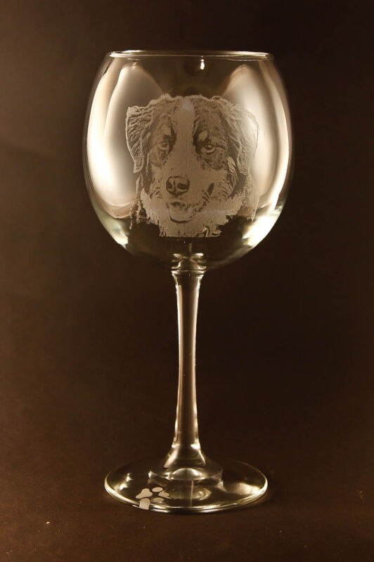 New! Etched Bernese Mountain Dog on Large Elegant Wine Glasses - Set of 2