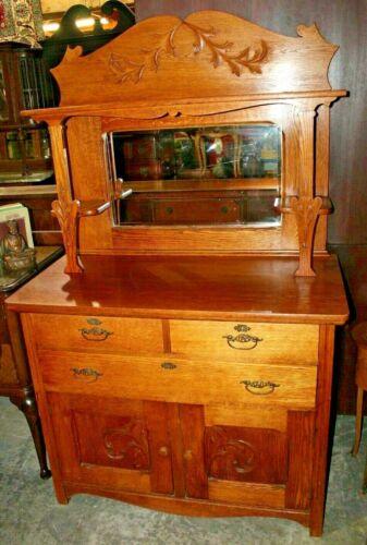 Antique Larkin Oak Sideboard/Buffet W/Mirrored Back & Shelves 1890-1920