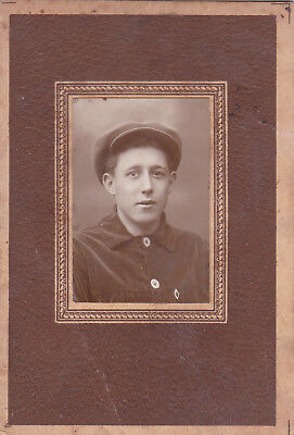 1920s Handsome young man in hat fashion old Russian antique photo gay interest
