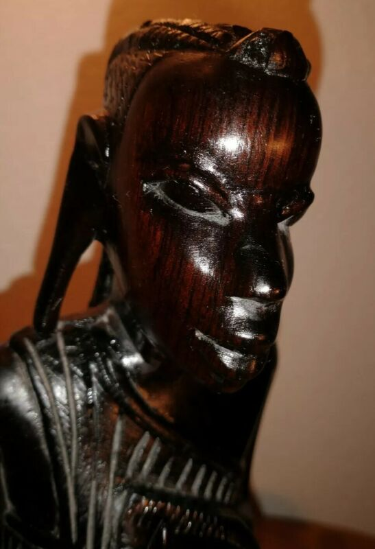 """Hand Carved Ebony Wood African Hunter Warrior Sculpture 12""""H x 4""""W"""