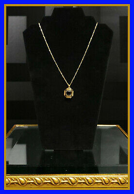 NEW VERSACE 24K GOLD PLATED BLACK CRYSTAL MEDALLION NECKLACE