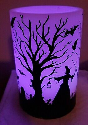Yankee Candle Halloween 2008 Witch Luminary LED Black Cats Spooky Night RARE!