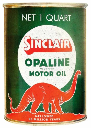 (3) SINCLAIR OPALINE MOTOR OIL RED DINO HEAVY DUTY USA MADE METAL GAS ADV SIGN