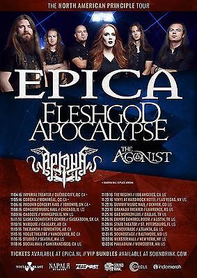 "EPICA / FLESHGOD APOCALYPSE ""NORTH AMERICAN PRINCIPLE TOUR"" 2016 CONCERT POSTER"