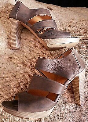 """WOMENS CLARKS BROWN LEATHER 4"""" HEELS SHOES UK SIZE 6 D EURO 40"""