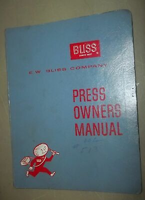 Bliss Press Owner Service Manual A-110-c