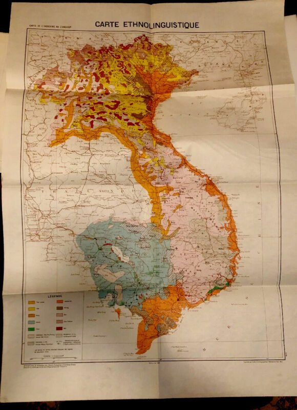 Vintage 1949 Vietnam Wall Map , CARTE ETHNOLONGUISTIQUE (ORIGINAL)
