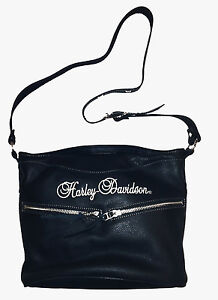 Harley-Davidson® Womens Black Leather Shoulder Bag, Fonrt Pocket, Strap HD618