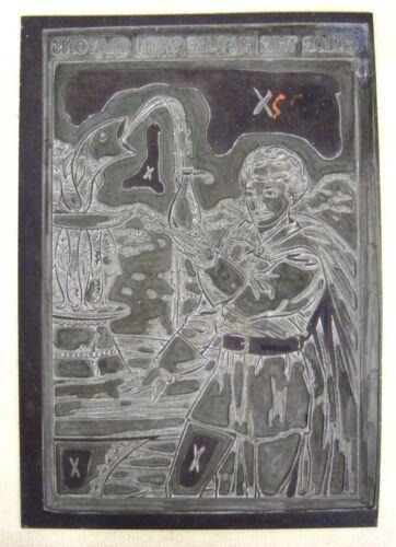 Vintage COLORING BOOK PRINTING PLATE 7x10, Micro-Metal Photoengravers