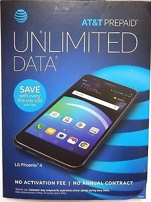 LG PHOENIX 4 2018 with 16GB Memory AT&T Cell Phone Prepaid Black NEW SEALED