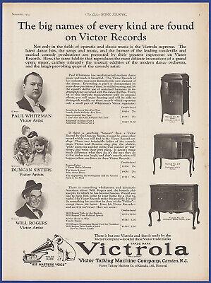 Vintage 1924 VICTROLA Victor Model 80 215 410 Phonograph Ephemera 20's Print Ad