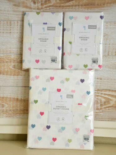 NEW Pottery Barn Kids Organic Multicolored Heart Full/Queen Duvet Cover & Shams