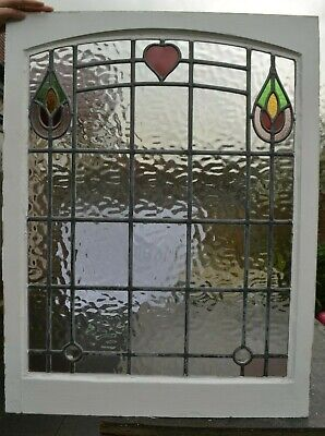 710 x 926mm. Leaded light stained glass window sash. R1010b. DELIVERY OPTION