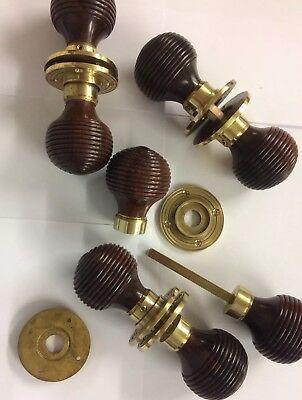 Rosewood Beehive door handle,REEDED Victorian antique beehive DOOR Knob,4x pairs
