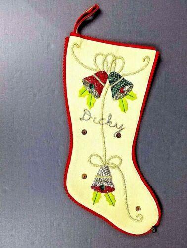 Christmas Stocking Sequins Bells Handmade Dicky Gold Cording Sawtooth Edge Vtg