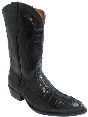 Mens, Black, Crocodile, Tail, Exotic, Skin, Leather, Western, Wear, Cowboy, Boots, J, Toe