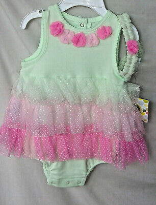 LITTLE ME 100% Cotton Mint & Pink AMBROSIA POPOVER With Matching Headband NWT