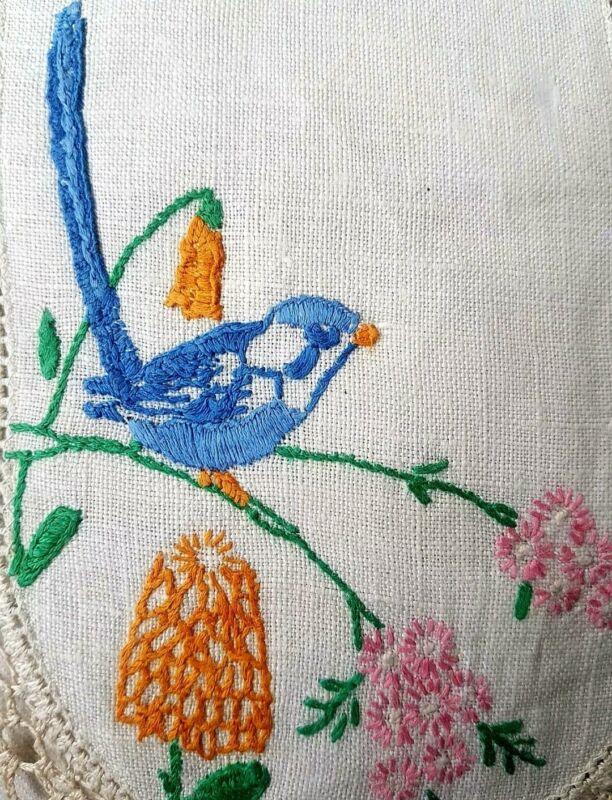 AUSTRALIAN VTG BLUE FAIRY WREN Hand Embroidered Doily FLOWERING GUM & SNOWDROPS