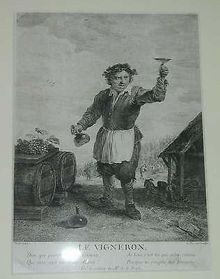 Wein Weinberg Winzer Le Vigneron vignoble winegrower vineyard Kupferstich 1780