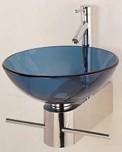 Bathroom Vanity Wall Bracket / Pedestal Glass Bowl Vessel Sink  CB016